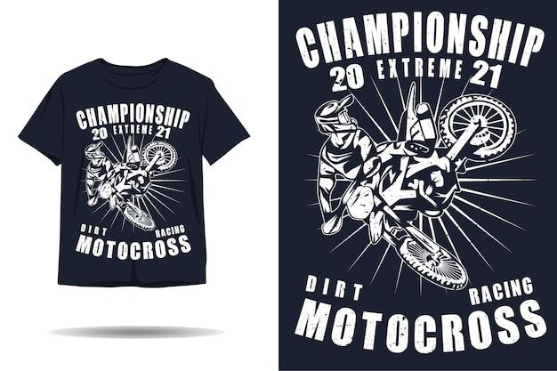Design de camiseta de silhueta para campeonatos extremos de motocross