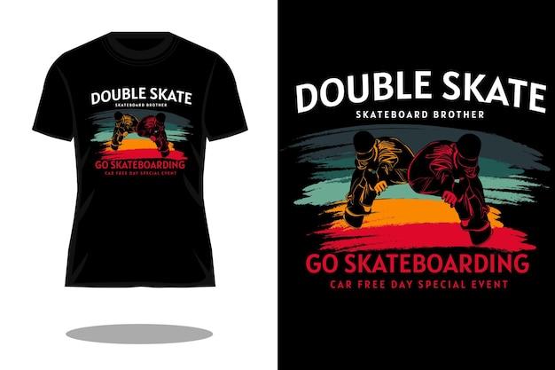 Design de camiseta de silhueta retrô de skate duplo