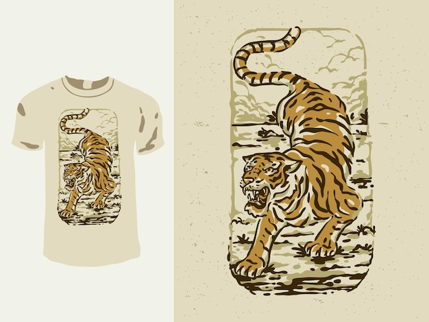 Design de camiseta de tigre estilo vintage japonês
