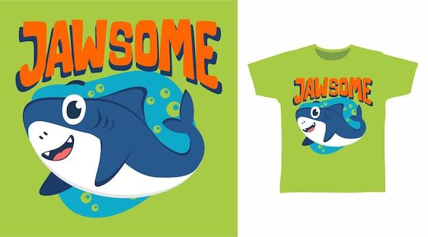 Design de camiseta de tubarão fofa