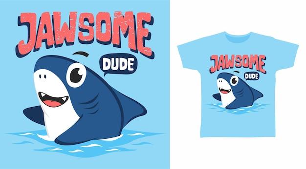 Design de camiseta de tubarão jawsome