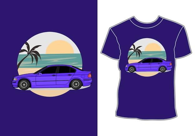 Design de camiseta de verão, carro de férias na praia