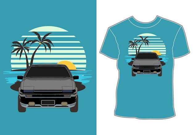 Design de camiseta de verão, carro retrô, vintage, férias de verão clássicas na praia