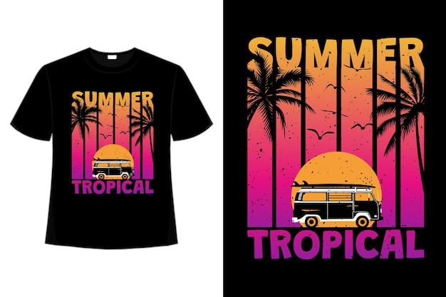 Design de camiseta de verão pôr do sol na praia tropical em estilo retro