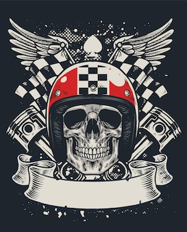 Design de camiseta do crânio de motociclista