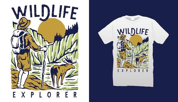 Design de camiseta do explorador da vida selvagem