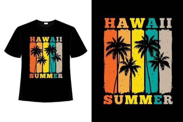 Design de camiseta do havaí verão palmeira cor do sol em estilo retro
