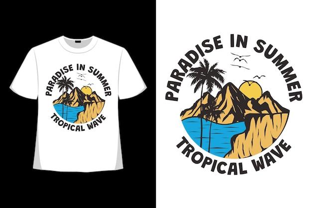Design de camiseta do paraíso verão ilha onda vibrações natureza mão desenhada vintage em estilo retro