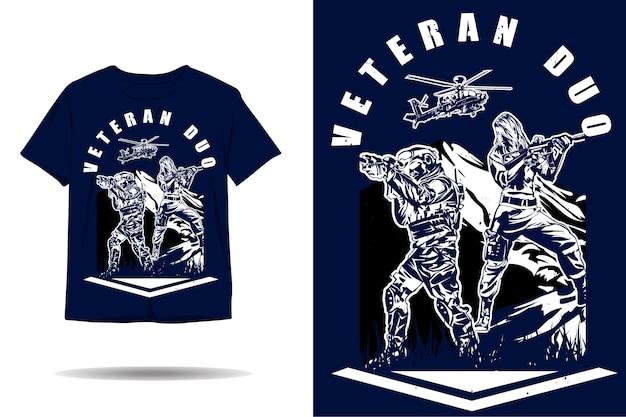 Design de camiseta dupla de veteranos