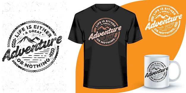 Design de camiseta e caneca de café