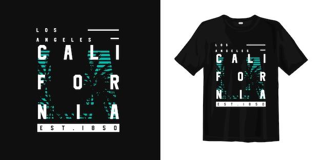 Design de camiseta elegante de los angeles califórnia com silhueta de palmeiras tropicais