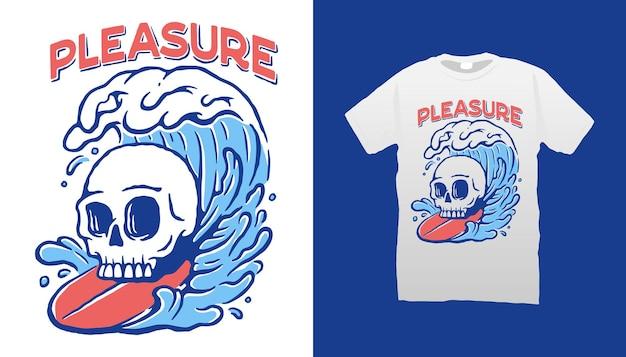 Design de camiseta esqueleto de surf
