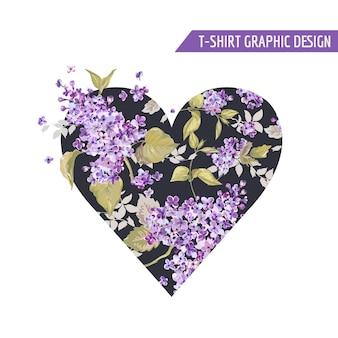 Design de camiseta estilo coração floral