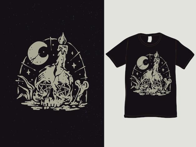 Design de camiseta estilo vintage de caveira à luz de velas