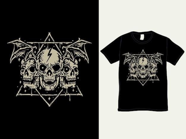 Design de camiseta estilo vintage de três cabeças de caveira demoníaca