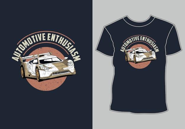 Design de camiseta, ilustração de carro, entusiasmo automotivo