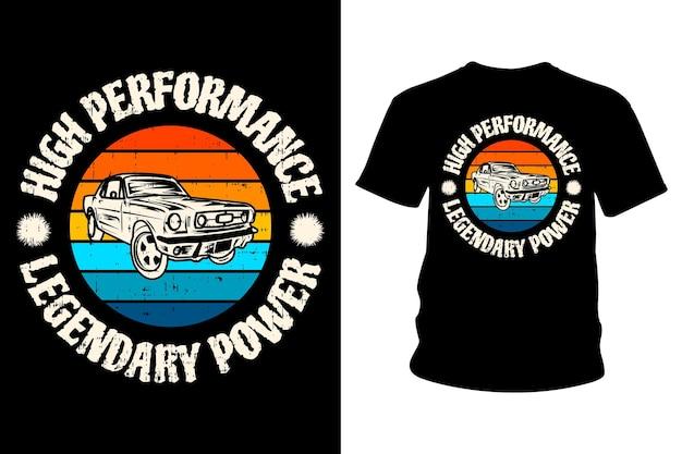 Design de camiseta lendária de texto poderoso de alto desempenho