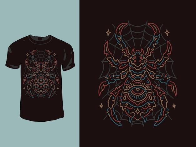 Design de camiseta monoline com geometria aranha