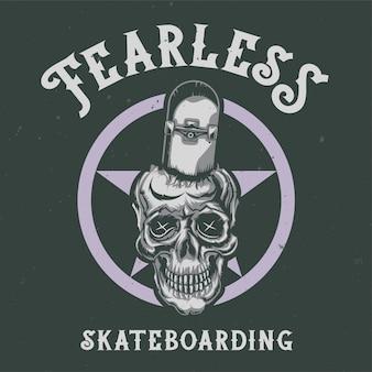 Design de camiseta ou pôster com ilustração de caveira e skate