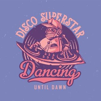 Design de camiseta ou pôster com ilustração de disco-jóquei robô