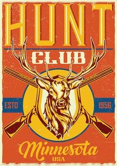 Design de camiseta ou pôster com ilustração de dois rifles e cabeça de veado