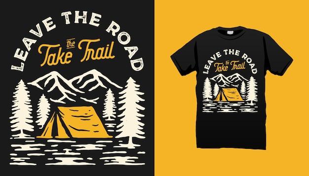 Design de camiseta para acampamento na montanha