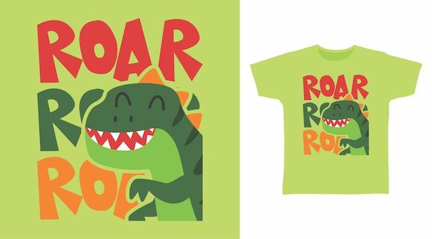 Design de camiseta para dinossauro fofo