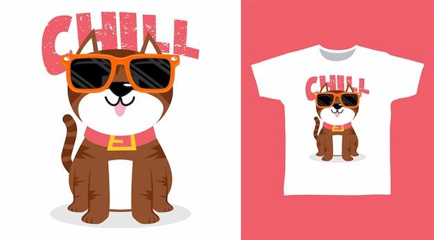 Design de camiseta para gato descontraído