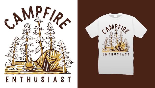 Design de camiseta para ilustração de acampamento