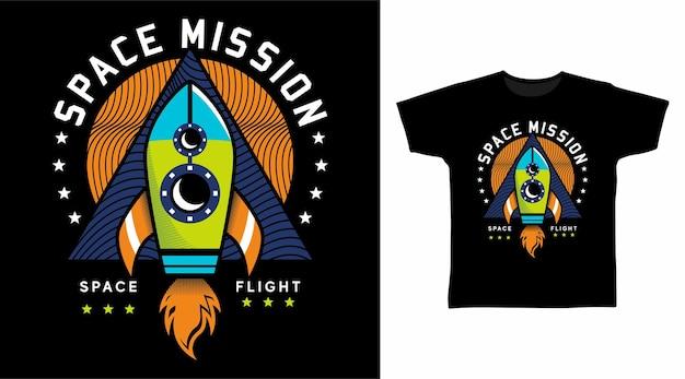 Design de camiseta para missão espacial