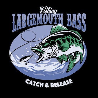 Design de camiseta para pesca de largemouth bass