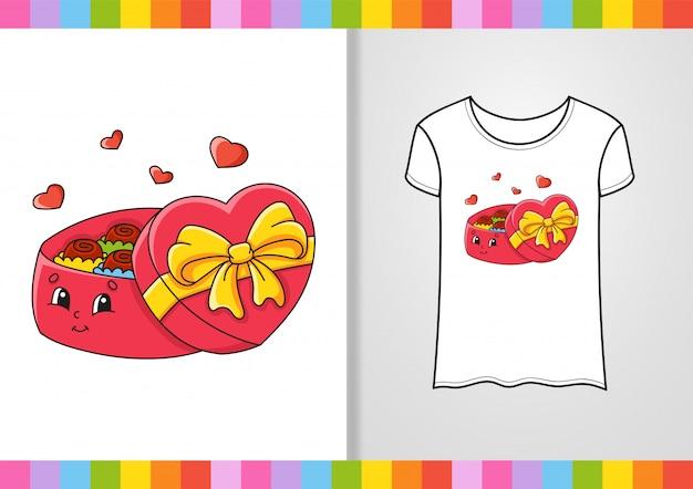 Design de camiseta. personagem bonita na camisa. desenhado à mão. ilustração vetorial colorida. estilo dos desenhos animados.