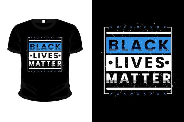 Design de camiseta preta com tipografia de matéria viva