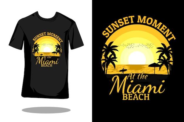 Design de camiseta retrô da silhueta de miami beach