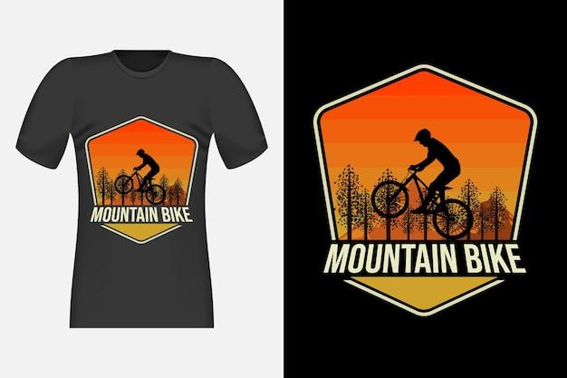 Design de camiseta retro vintage com silhueta de mountain bike