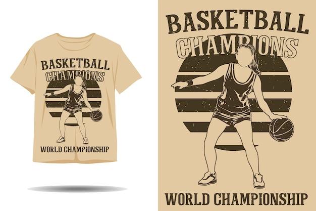 Design de camiseta silhueta campeã mundial de basquete
