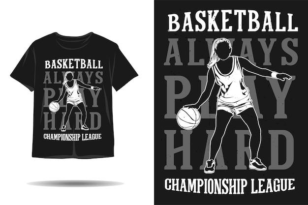 Design de camiseta silhueta da liga de campeonato de basquete