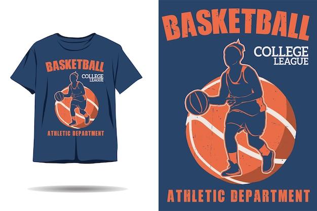Design de camiseta silhueta da liga universitária de basquete