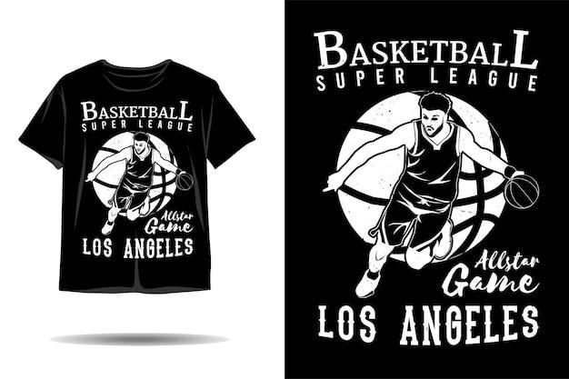 Design de camiseta silhueta da super liga de basquete