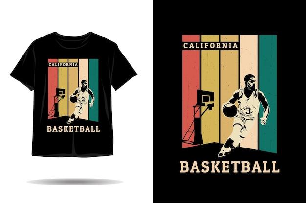 Design de camiseta silhueta de basquete da califórnia