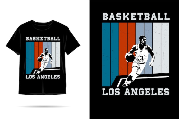 Design de camiseta silhueta de basquete de los angeles
