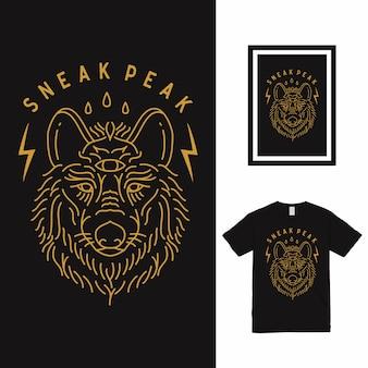 Design de camiseta sneak peak wolf line art