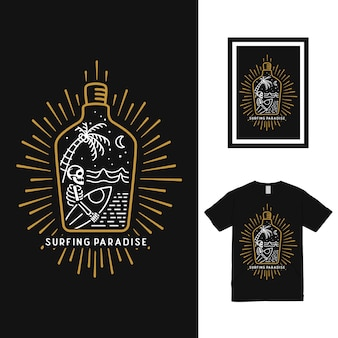Design de camiseta surf in the bottle