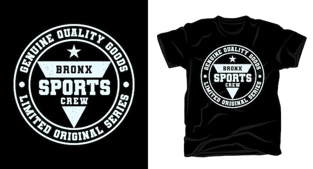 Design de camiseta tipográfica da equipe esportiva do bronx
