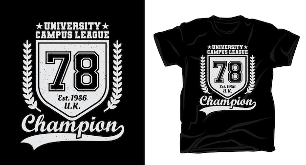 Design de camiseta tipográfica da liga setenta e oito do campus universitário