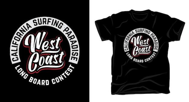 Design de camiseta tipográfica do concurso de longboard da costa oeste