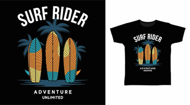 Design de camiseta tipográfica surf rider