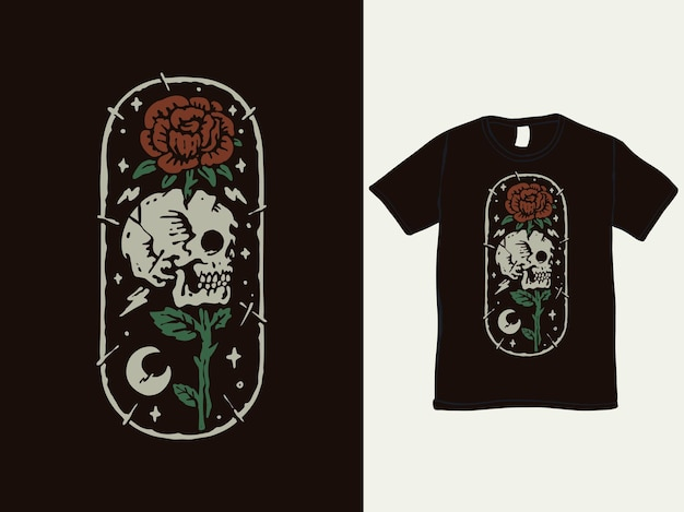 Design de camiseta vintage com rosa romântica e caveira