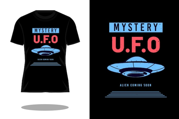 Design de camiseta vintage com silhueta alienígena misteriosa