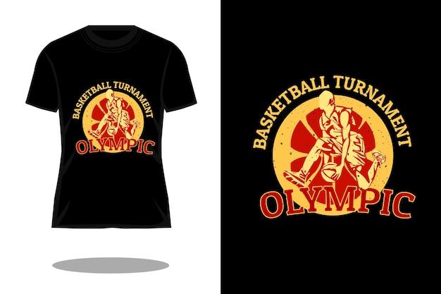 Design de camiseta vintage com silhueta de torneio de basquete